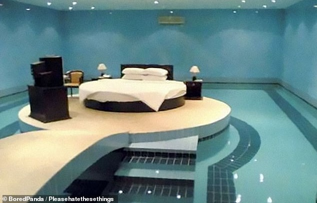 If there's one thing that's guaranteed in life, it's that electric and water do not mix, but for this designer plonking a circular bed in the middle of a pool surrounded by water and electrical appliances is perfectly acceptable