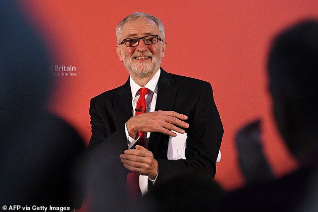 Mr Corbyn, pictured in Northampton yesterday, propelled Labour to a better-than-expected set of results in 2017 but the party still fell far short of winning power