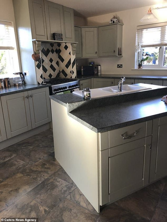 Grandmother Jennie Farish, 57, from Cumbria, transformed her kitchen with a makeover costing £400 after she was quoted £3,000