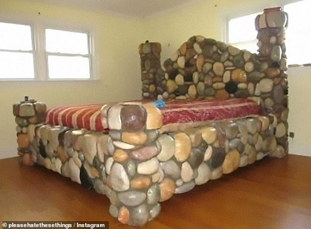 A four poster right out of the Flinstones thanks to this unusual frame made out of stone, but we're not even sure Fred and Wilma would enjoy making this bed rock