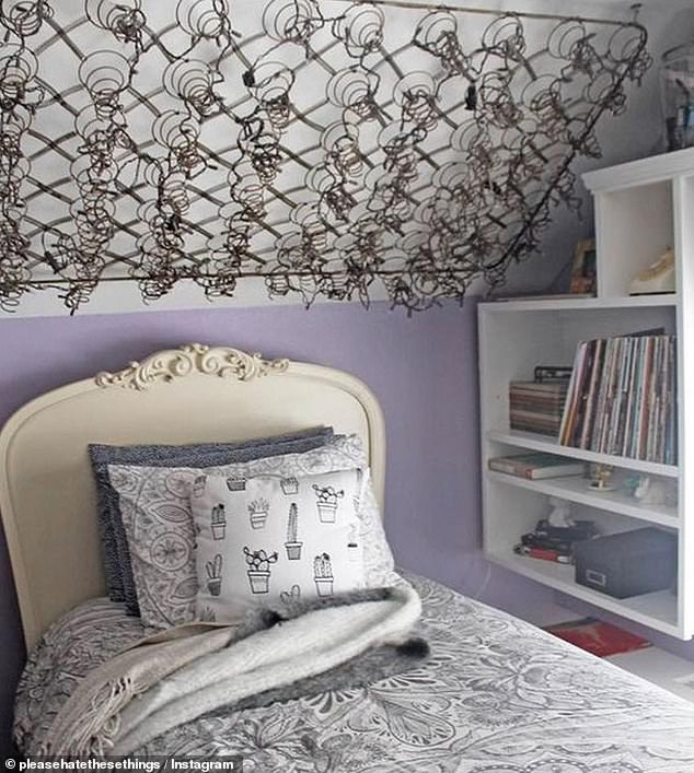 When you replace your bed it's very normal to get rid of the mattress, what isn't very normal is to hang the mattress springs above your new bed and be at risk of getting poked by a spring