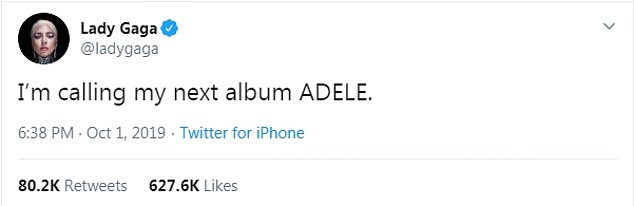 Look what you started:She simply wrote: 'I'm calling my next alum ADELE', with the messaging garnering thousands of likes and retweets from fans'