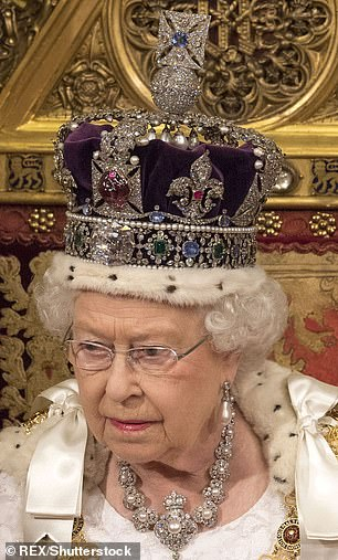 The Queen will not wear her Imperial Crown at the State of Opening of Parliament next week (pictured at State Opening of Parliament in 2016)