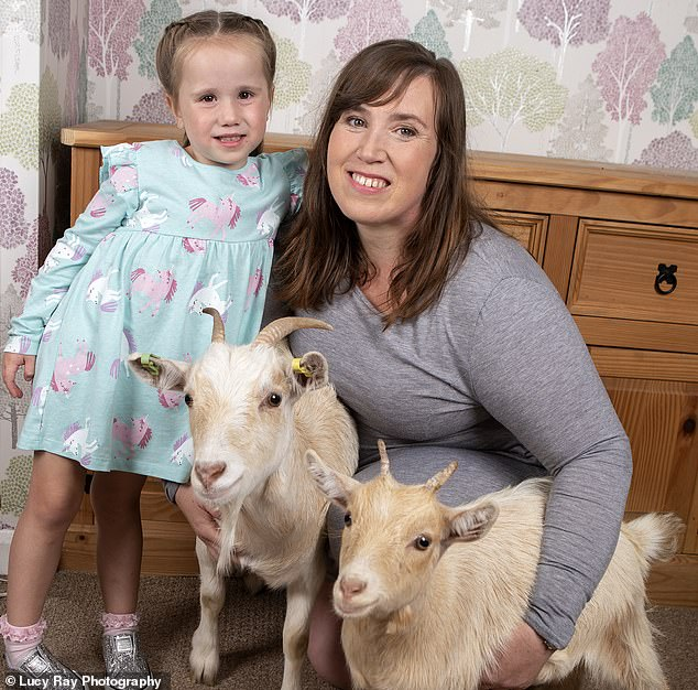 Tammy Faulkner took on pygmy's Eden and Daisy after the farmer of a petting farm in Bradford begged her to let the animals live with her as they were retiring. She lives with the animals and childrenKurtis, 24, Ellis, 19, Imogen, 18, Freya, 13, and Felicity, four (pictured)