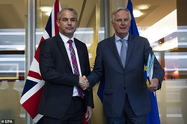 Brexit Secretary Steve Barclay put an outline to the EU's chief Brexit negotiator Michel Barnier yesterday in a meeting described as 'constructive' (pictured together on Friday)