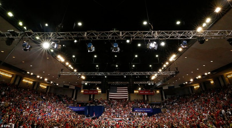 Trump supporters crowded into the Sudduth Coliseum in Lake Charles, Louisiana for the rally on Friday