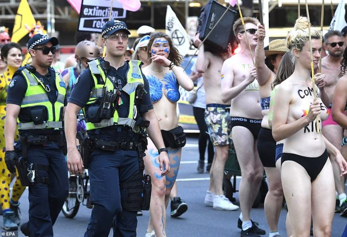 Victoria Police were monitoring the protest which started at 10am on Saturday ensuring no activist was breaking the law