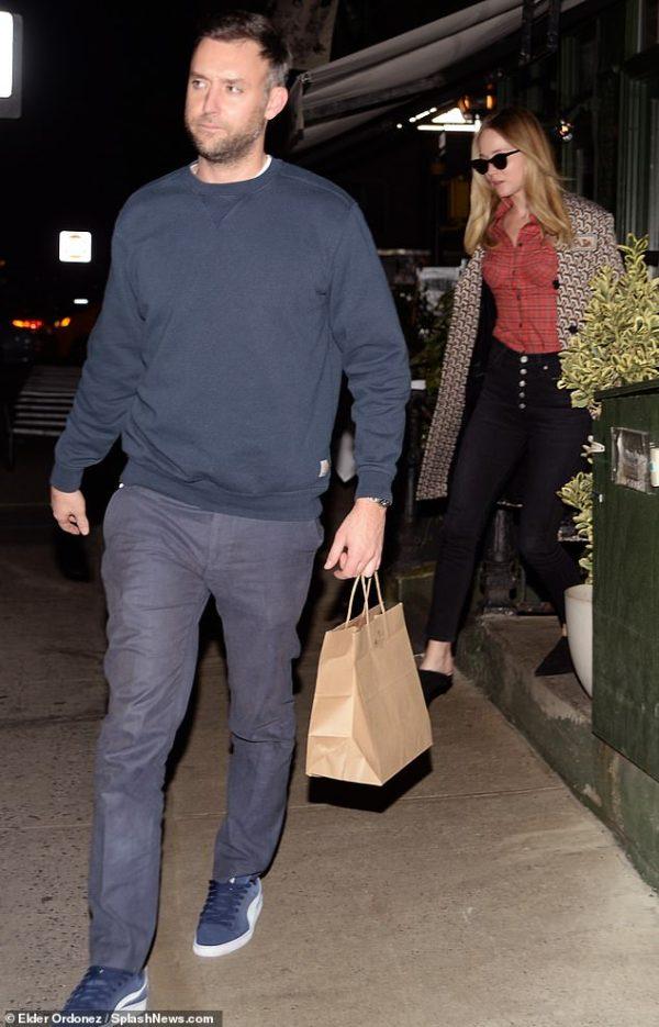 Jennifer Lawrence seen leaving a restaurant with fiance Cooke Maroney