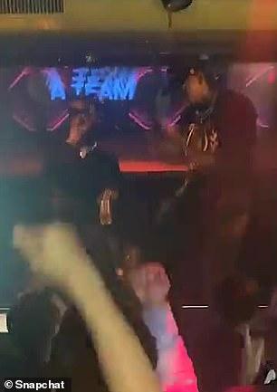 Bolt dances inside the club on Friday night