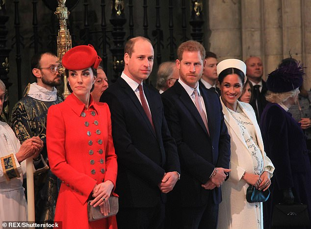 The Fab Four: Prince William with Kate along with Prince Harry and Meghan during the Commonwealth Day service at Westminster Abbey in March
