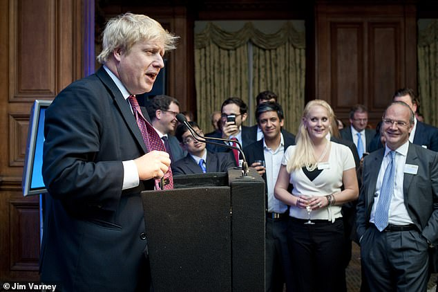 At the moment when American businesswoman Jennifer Arcuri (front-right) met Boris Johnson for the first time at a meeting of venture capitalists in central London in October 2011