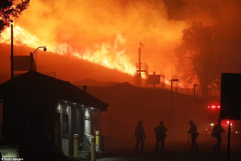Pacific Gas & Electric Co. restored power for two million residents in Northern Californiaafter workers inspected power lines. They did so as theSaddleridge Fire continued making its way south. Porter Ranch, California, pictured