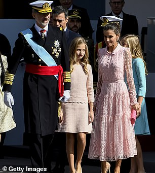 Queen Letizia was accompanied by her family for the day out