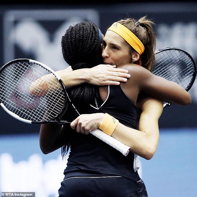 Gauff hugs Petkovic after securing a 6-4, 6-4 win to continue her phenomenal breakout year