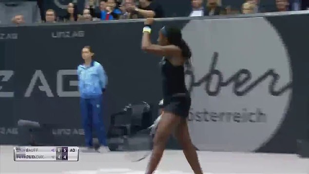 Gauff celebrates her victory as she goes a step closer to writing her name in the history books