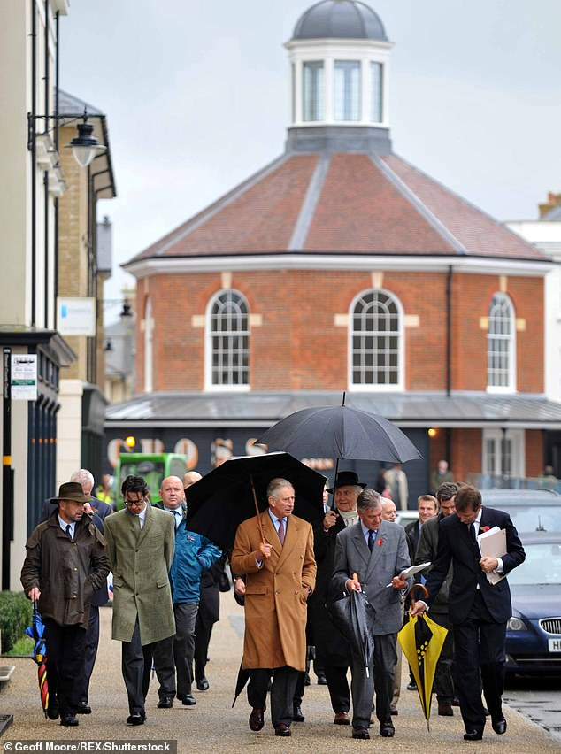 The documentary also follows Charles to hismodel village of Poundbury, Dorset, which he admits was met with criticism. Pictured: The Prince on a visit to the village in 2013