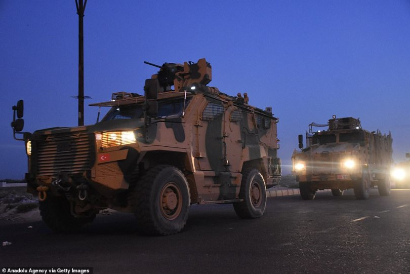 Turkish Armed Forces military vehicles on their way to join others as part of Operation Spring
