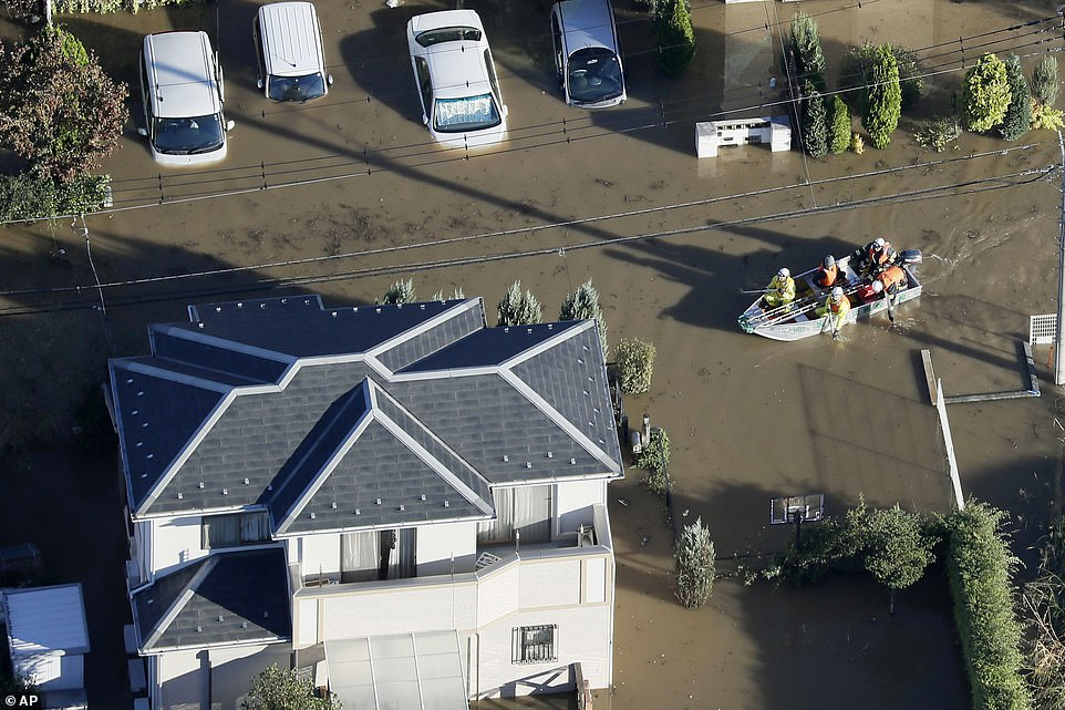 At least 26 people are dead and 16 missing after the powerful Typhoon Hagibis ripped through Japan triggering deadly landslides and flooding rivers, with hundreds of homes evacuated