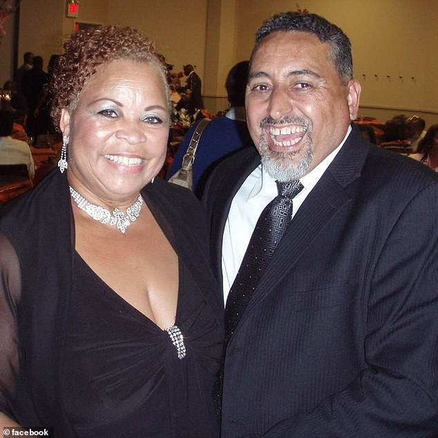 The shooting came just hours before a service was to be held for church minister Luis Garcia who was shot in the neck and killed last week. He's pictured here with his wife Patti