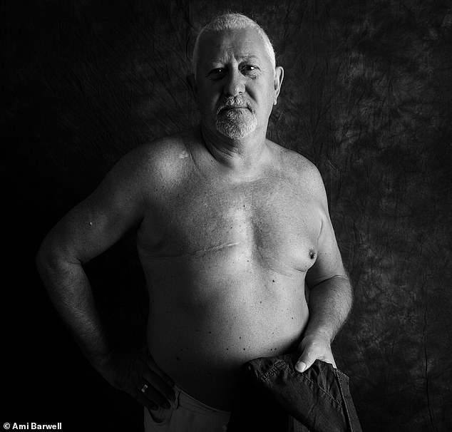 Steve McAllister, 67, from Cardiff, was diagnosed with breast cancer in 2010. He said: 'When I was diagnosed with breast cancer, I was completely gobsmacked that it could happen to me. Before my mastectomy I was quite concerned with what my scar was going to look like, because I'd looked online and hadn't seen any positive images. Now though, I don't worry about it. I've completely embraced my scar, it's as much a part of my body as my arm or my leg. Stand Up To Cancer is all about showing cancer who's boss and I really channelled that when taking part in this shoot'