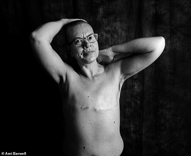 Nicki Hastie, 50, Nottingham, was diagnosed with breast cancer in March 2018. She said: 'There are many different ways to be a woman. Indeed, many different ways to be human and to inhabit a body. That's part of the message I hope to portray. It would be great if LGBTQ media and mainstream media pick up the photo campaign. I feel proud of my scars'