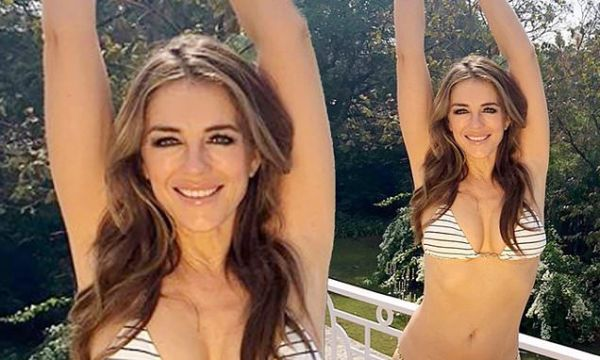 Elizabeth Hurley, 54, shows off her sensational figure in a bikini