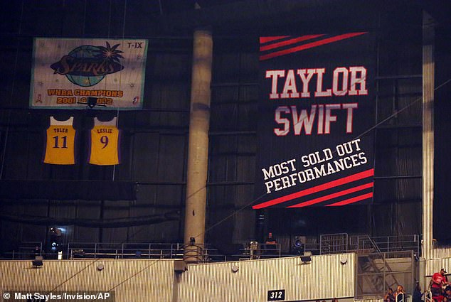 Big deal: The 29-year-old singer received the banner in August 2015, after her 16th straight sold-out concert at Staples Center