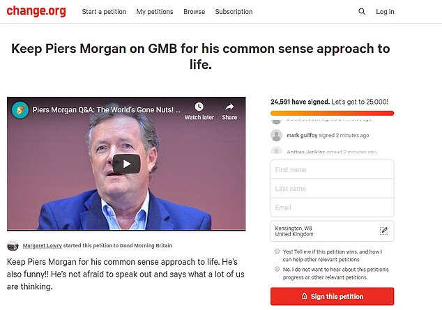 A counter-petition demanding Piers remain in post for his 'common sense approach to life' has now surpassed it with 25,000 signatories
