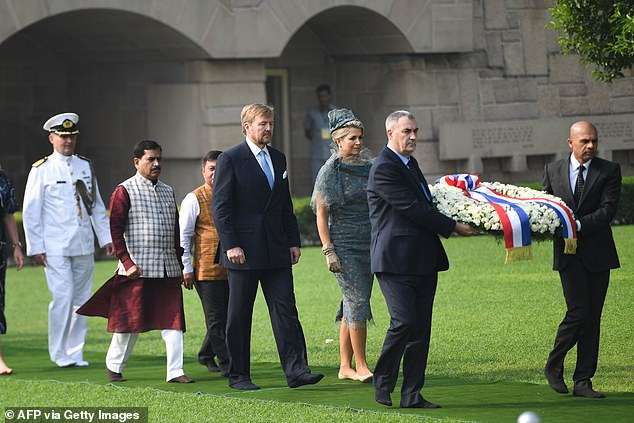 The royals later made their way to the site where Mahatma Gandhi was cremated after his assassination in 1948