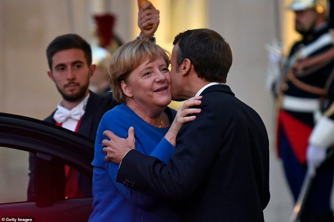 French President Emmanuel Macron welcomed German Chancellor Angela Merkel for a meeting at the Elysee Palace yesterday. She told reporters the UK would be the EU's competitor after Brexit