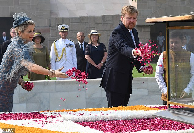 The couple paid their respects to Mahatma Gandhi by offering flowers at his memorial site