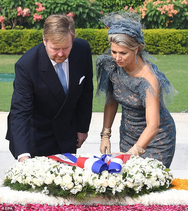 The royal couple also laid a reef decorated with white flowers at the memorial site for the iconic Indian social activist