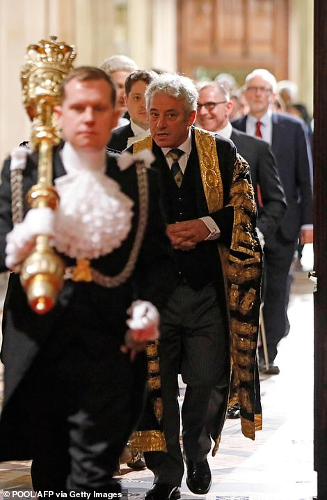 Speaker John Bercow (right) was in his ceremonial gown for the event today