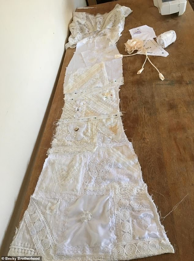 Becky made the original pattern herself out of an old sheet she found in her attic that was left behind by the previous lady who lived at her house - so she helped too. Pictured, the dress coming together