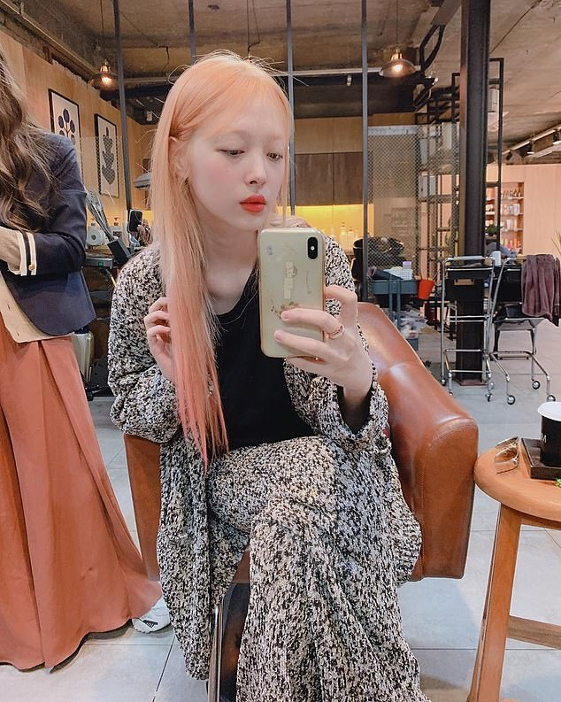 Sulli, 25, whose real name is Choi Jin-ri (pictured), was found by her manager at her home in Seongnam, south of the capital, Seoul at around 3.20pm local time