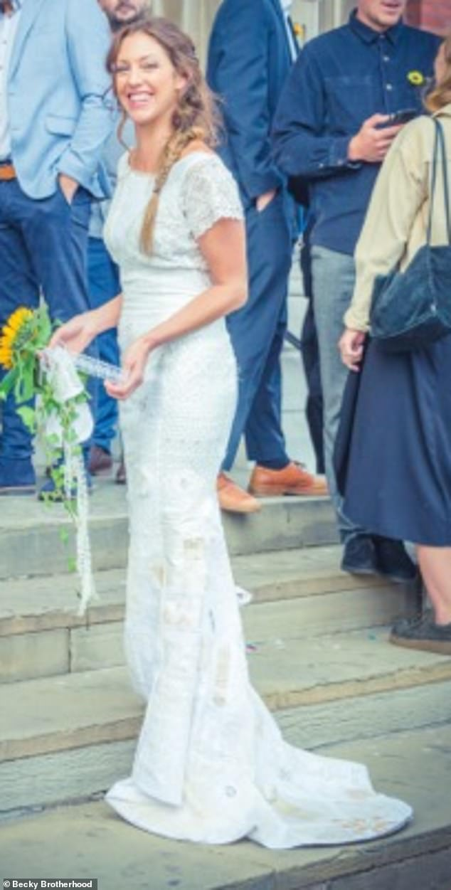 Speaking of the process that went in to making the dress, Becky said: 'It really felt like a hen night that lasted every weekend for a month.' Pictured, on her wedding day
