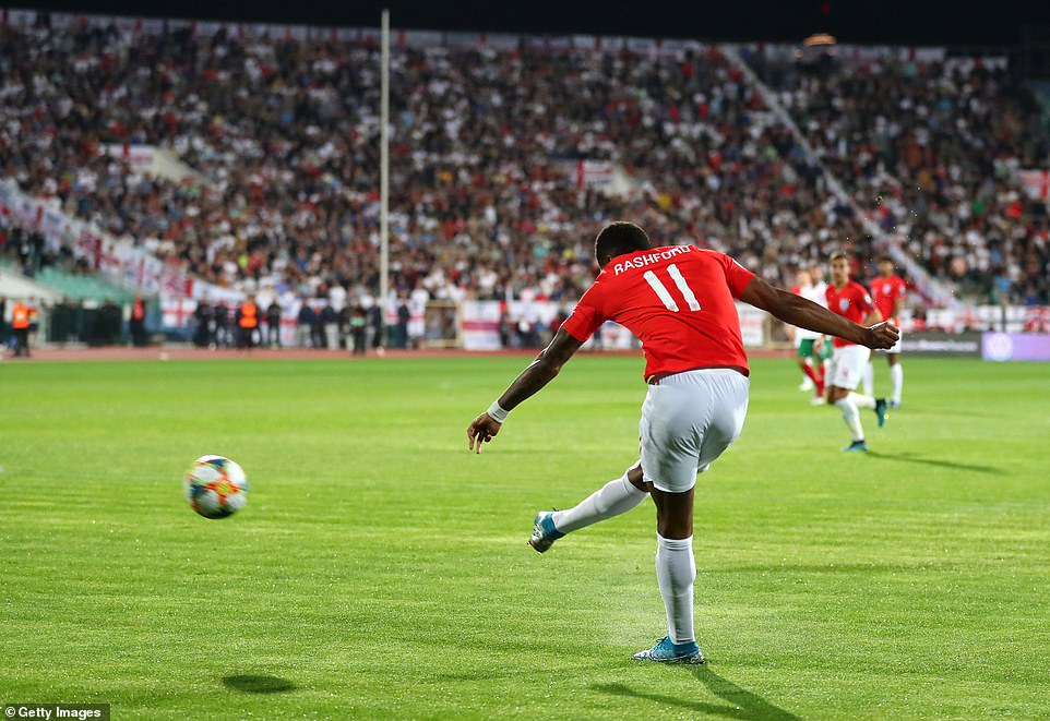 Marcus Rashford opened the scoring for the Three Lions on seven minutes with a superb strike from the right flank