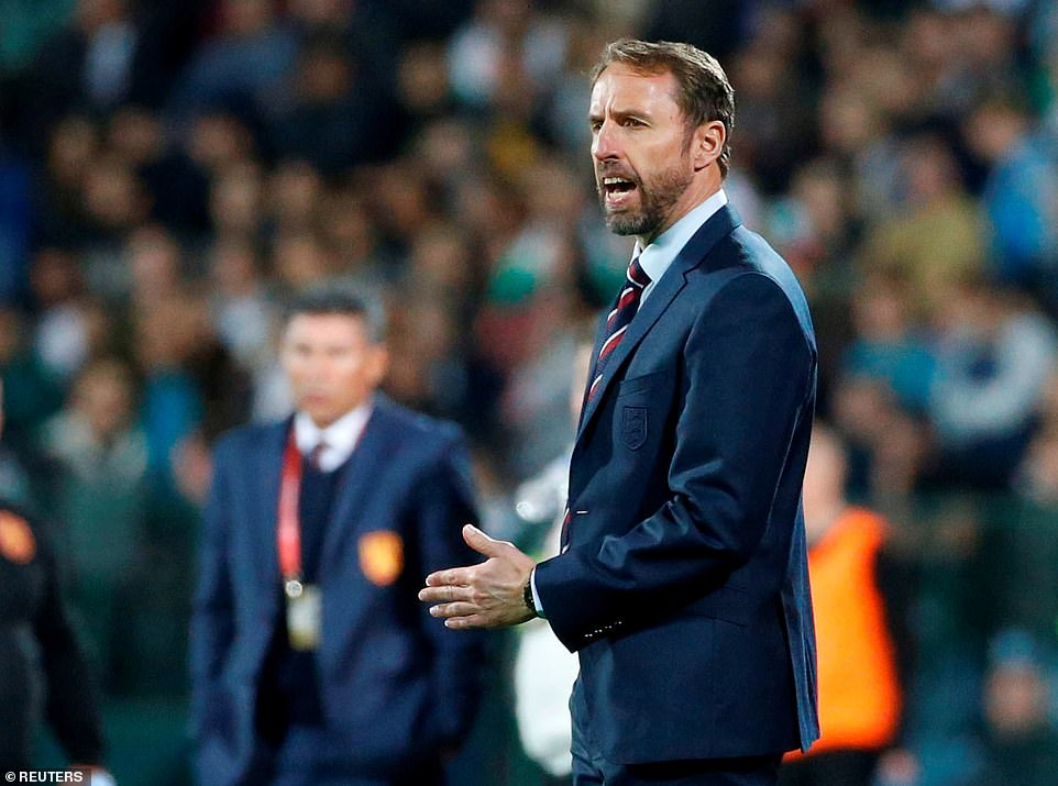 Three Lions boss Gareth Southgate watched on as his side surged into a two-goal lead in the qualifying clash in Sofia