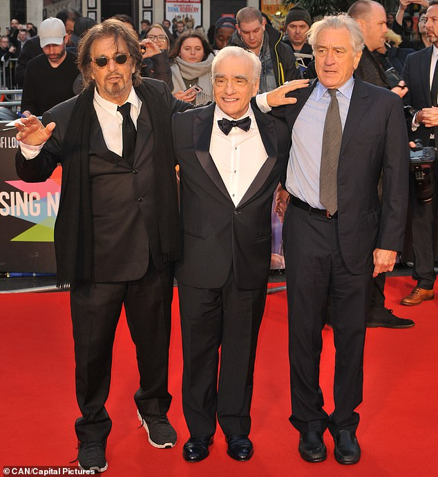 Frank Sheeranis the subject of a new film uniting Robert De Niro (right), Al Pacino (left) and Joe Pesci, together with gangster movie director Martin Scorsese (centre)