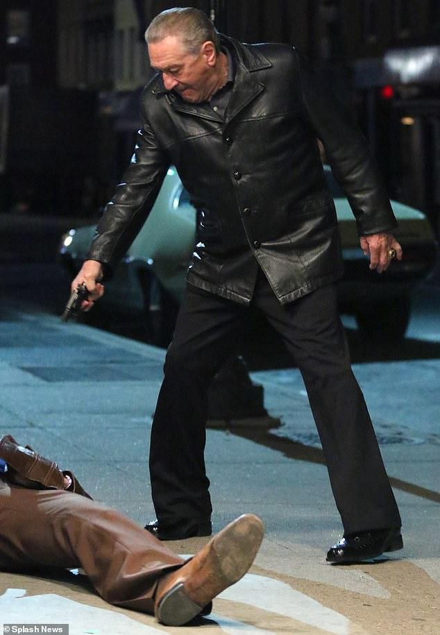 Robert De Niro is seen playing Frank Sheeran while filming Martin Scorsese's mob drama The Irishman in Brooklyn