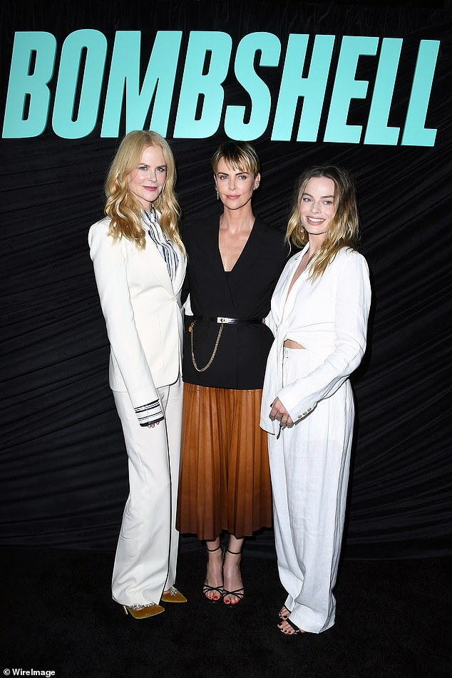 New film: Margot and Nicole star in the film, which is about the downfall of late Fox News chairman Roger Ailes, alongsideCharlize Theron (centre)
