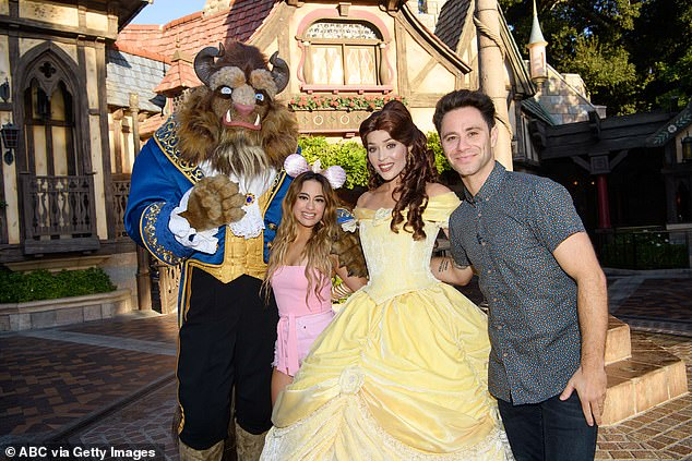 Favorite movie: Beast and Belle who star in Ally's favorite movie Beauty And The Beast met up with her and Sasha at Disneyland