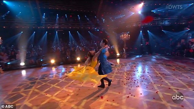 Contemporary dance: The 26-year-old singer and her partner Sasha Farber, 35, performed a contemporary routine to Beauty And The Beast