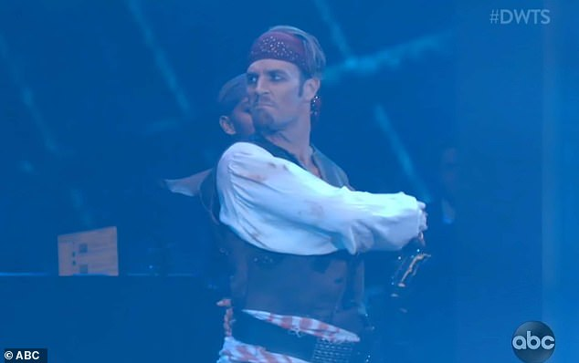 Pirate costume: James Van Der Beek performed a paso doble to a bracing, aggressive instrumental from 2003's Pirates Of The Caribbean