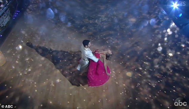 Romantic dance:Hannah Brown and Alan Bersten, both 25, set heads spinning with their foxtrot to A Whole New World from 1992's Aladdin