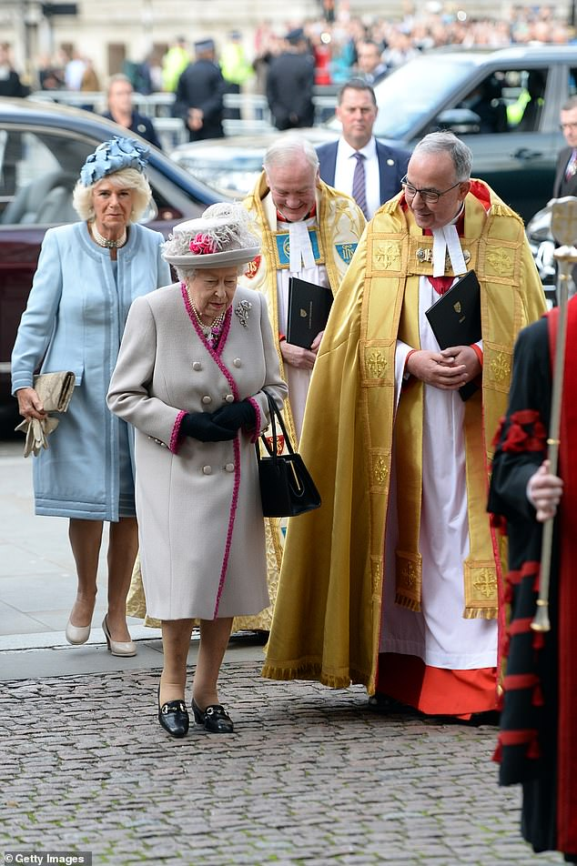 The Queen and Camilla made a rare joint appearance today as they arrived at Westminster Abbey ahead of the anniversary service