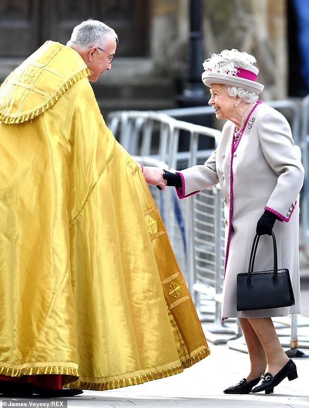 The Queen and Dr John Hall seemed overjoyed to see one another as they met ahead of the service today