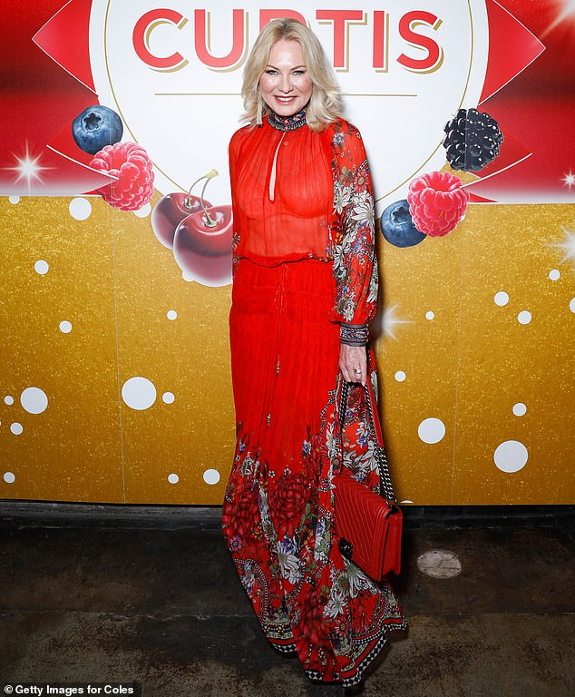 Sheer-daring! Kerri-Anne Kennerley, 66, made a statement in a red frock with a floral print and keyhole detail at the bust