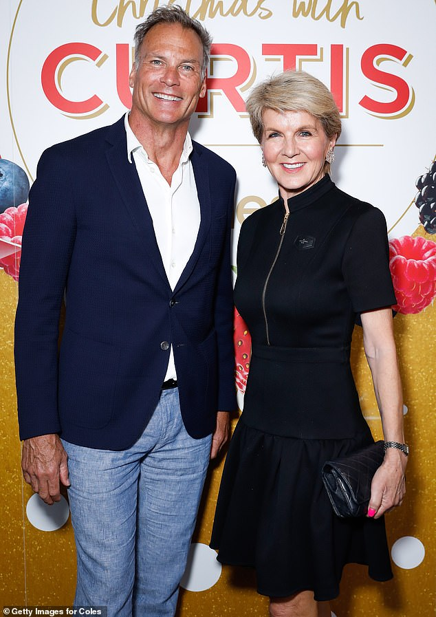 Power couple: Former Minister for Foreign Affairs Julie Bishop, 63, posed for photos with partner David Panton (both pictured)