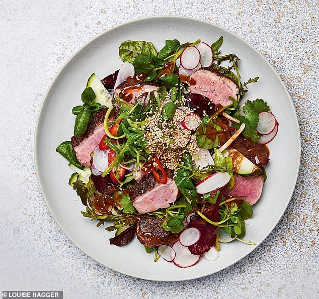 This spectacular Asian duck salad (pictured) is oozing with aromatic flavours for a hearty lunch